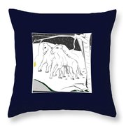 Horses On A Snowy Evening Throw Pillow