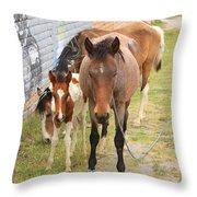 Horses On A Street Throw Pillow