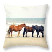 Horses On Beach Throw Pillow