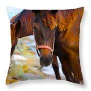 Horses On Jost  Throw Pillow