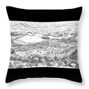 Horses On Summer Range Field Sketch Throw Pillow