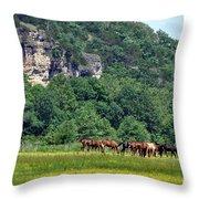Horses On The Rubideaux Throw Pillow