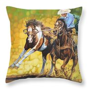 Horses On The Run Throw Pillow