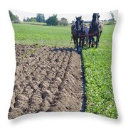 Horses Plowing Rows Two  Throw Pillow