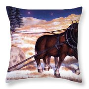 Horses Pulling Log Throw Pillow
