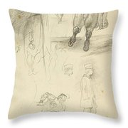 Horses Riders And A Young Man Throw Pillow