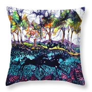 Horses Running Below Hills Throw Pillow
