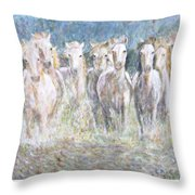 Horses Running In Water Throw Pillow