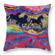 Horses Running Thru A Stream Throw Pillow by Carol  Law Conklin