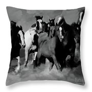 Horses Stampede 01 Throw Pillow