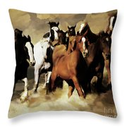 Horses Stampede 091 Throw Pillow