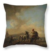 Horses Startled By A Dog Ca Throw Pillow
