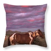 Horses With Southwest Sunset Throw Pillow