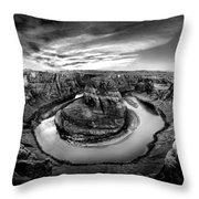 Horseshoe Bend Bw Throw Pillow