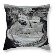 Horseshoe Bend In Black And White Throw Pillow