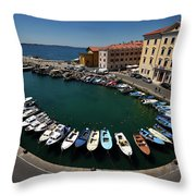 Horseshoe Pattern Of Moored Boats At The Inner Harbour Of Piran  Throw Pillow