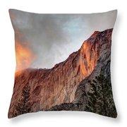 Horsetail Falls Cloudy Sunset Throw Pillow