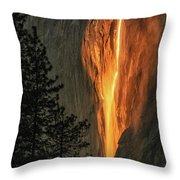Horsetail Falls In Yosemite National Park Throw Pillow