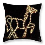 Horsing Around At Christmas Throw Pillow