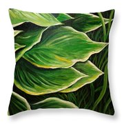 Hostas And Grass Painting Throw Pillow