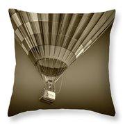 Hot Air Balloon And Bucket In Sepia Tone Throw Pillow