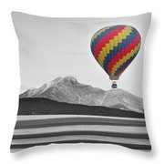 Hot Air Balloon And Longs Peak - Black White And Color Throw Pillow