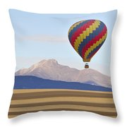 Hot Air Balloon And Longs Peak Throw Pillow