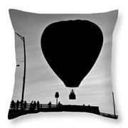 Hot Air Balloon Bridge Crossing Throw Pillow
