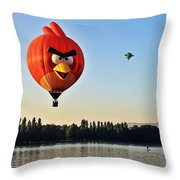 Hot Air Balloon Confronts Stand Up Paddleboarder Throw Pillow