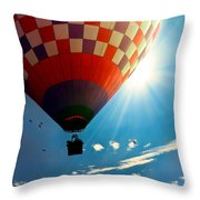 Hot Air Balloon Eclipsing The Sun Throw Pillow