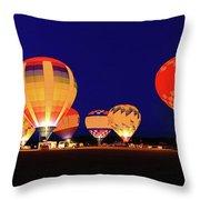 Hot Air Balloon Night Glow Throw Pillow