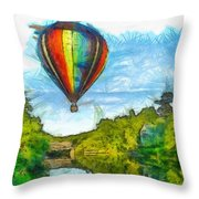 Hot Air Balloon Woodstock Vermont Pencil Throw Pillow