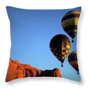 Hot Air Balloon Monument Valley 5 Throw Pillow