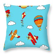 Hot Air Balloons And Airplanes Fly In The Sky Throw Pillow