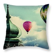 Hot Air Balloons Float Over Lewiston Maine Throw Pillow