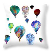 Hot Air Balloons Throw Pillow by Michael Colgate