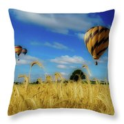 Hot Air Balloons Over A Wheat Field Throw Pillow