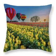 Hot Air Balloons Over Tulip Fields Throw Pillow