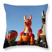 Hot Air Kangaroos Throw Pillow