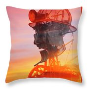 Hot And Steamy Man Engine Throw Pillow