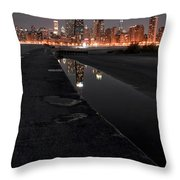 Chicago Hot City At Night Throw Pillow