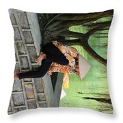 Hot Day At Tam Coc Reserve  Throw Pillow
