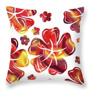 Hot Flowers Dancing Silhouettes Throw Pillow