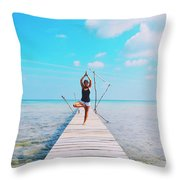 Hot Girl In White Jeans Doing Yoga On The Wooden Pier By The Sea Throw Pillow