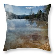 Hot Mammoth Springs Reflection Throw Pillow