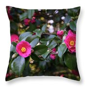 Hot Pink Camellias Glowing In The Shade Throw Pillow
