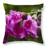 Hot Pink Foxglove Throw Pillow