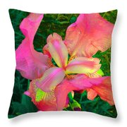 Hot Pink Iris Flower Throw Pillow
