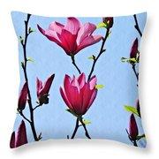 Hot Pink Magnolias Throw Pillow