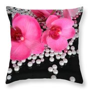 Hot Pink Orchids 2 Throw Pillow